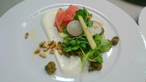 Smoked Salmon, Yoghurt, Capers, Pine Nuts, Apple Watercress and Radish Salad